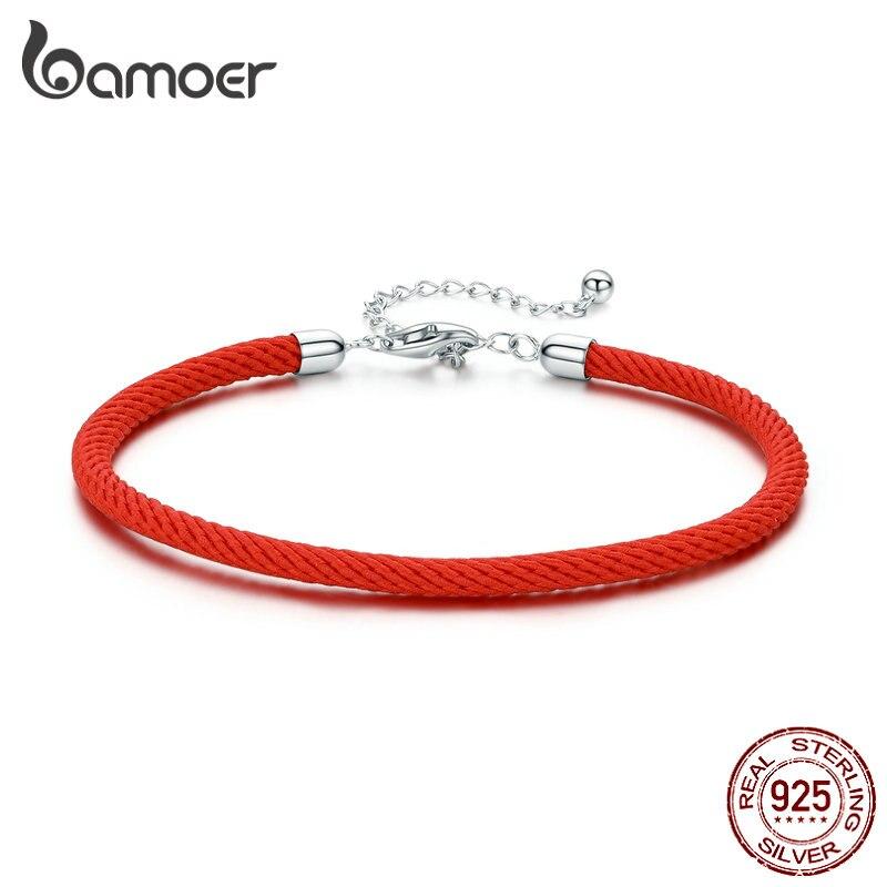 bamoer 925 Sterling Silver Charm Bracelet for Women Original European Female Adjustable 16cm to 21cm Girl Birthday Gifts SCB166