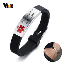 Vnox Just throw me in the trash Medical Alert ID Bracelets for Men Women Stainless Steel Tag Adjustable Silicone Rudder Band(China)