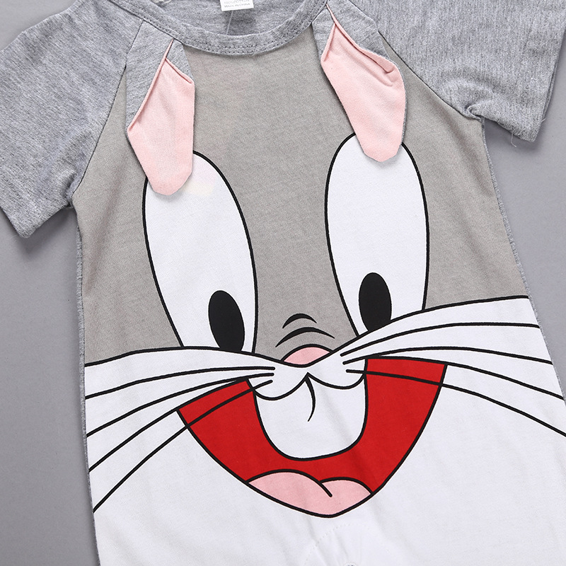 He955a68b6e074668884ffc0202d1f834f Newborn baby cotton rompers lovely Rabbit ears baby boy girls short sleeve baby costume Jumpsuits Roupas Bebes Infant Clothes