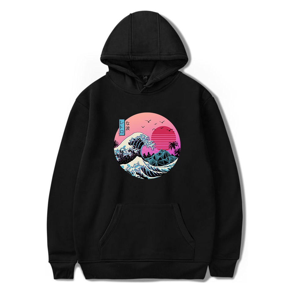 2020 Streetwear Cool Sweatshirt Great Retro Wave Black Hoodie Men Harajuku Pullover Coats Women Clothing Moletom Japanese Hoodie