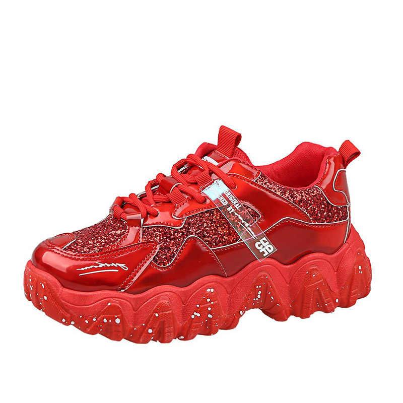 בתוספת גודל נשים שמנמן סניקרס עבה בלעדי ריצה אבא נעלי בלינג לגפר נעלי נשי ספורט פלטפורמת Sneaker שחור אדום 8169N