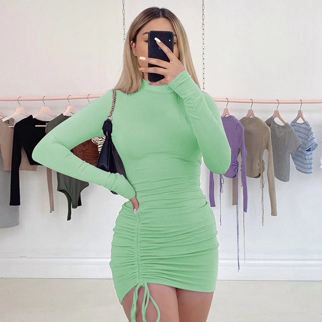 WJFZQM Sexy Ruched Bodycon Mini Dress Women Clothes Fall 2020 Long Sleeve O Neck Lace Up Draped Tight Dresses Woman Party Night 2