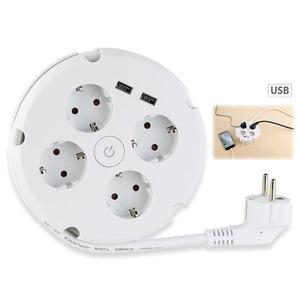 Image 4 - Mehrere Power Streifen Elektrische Steckdosen 4 weg Runde 2 USB Ladegerät Schalter Outlets Beleuchtete Wand Montage Rund Roll up kabel