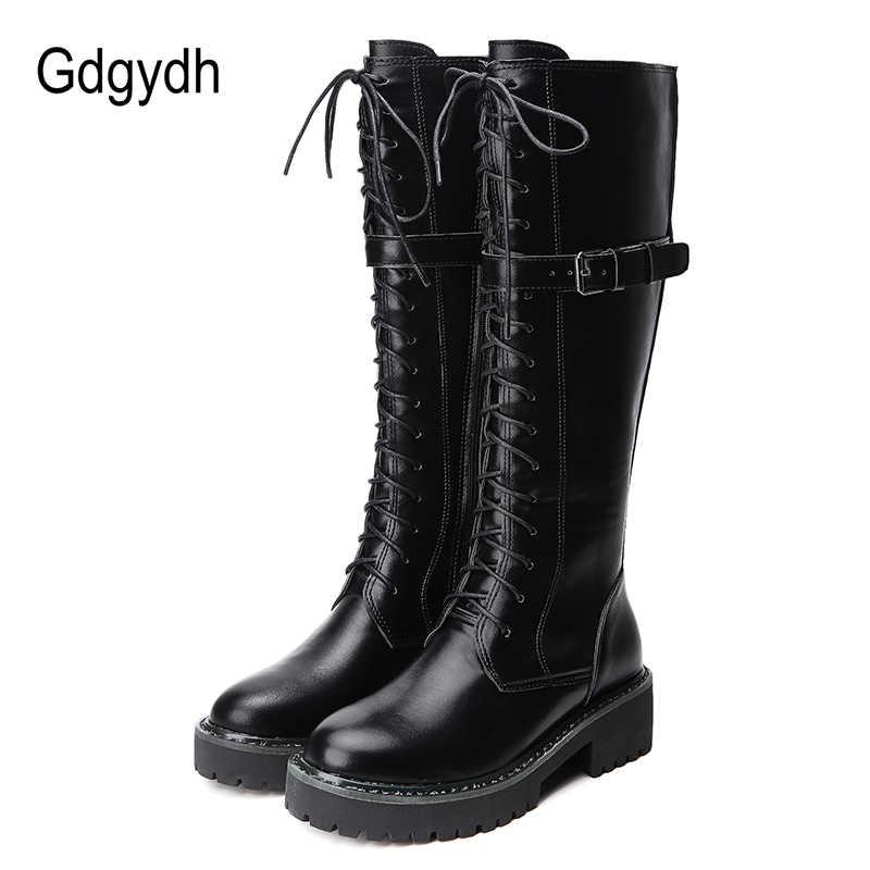 Gdgydh 2019 Gotik Punk Kadınlar Çizmeler Sonbahar Kış Kadın Diz yüksek Çizmeler Yuvarlak Ayak Platformu İngiliz Tarzı Yüksek Sokak ayakkabı