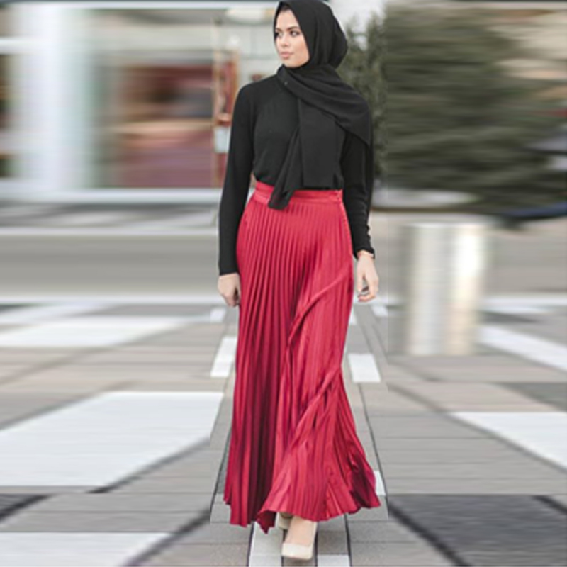 Pleated Muslim Skirt Women Kaftan Abaya Turkey Islamic Moslim Skirts Elbise Musulman Vetement Femme Dubai Jupe Musulmane