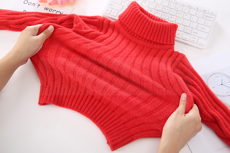 PHILOLOGY pure color flash yarn fall winter boy girl kid thick turtleneck shirts solid high collar pullover sweater 5