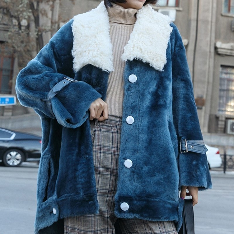 2020 New Fashion Sheep Fur Collar Coats Female Single Breasted Thick Overcoats Korean Ladies Real Fur Coats Loose Jackets