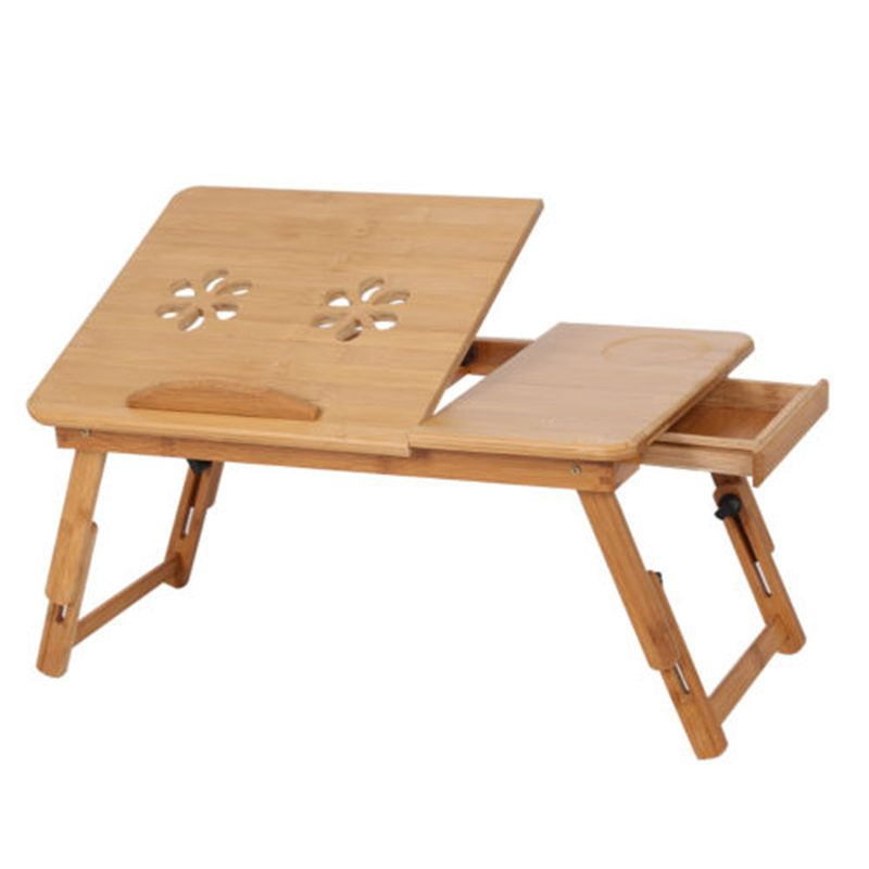Mobile Laptop Desk Adjustable Notebook Computer IPad PC Stand Table Tray Bamboo