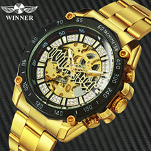 WINNER Official HIP HOP Golden Automatic Watch Men Diamond Iced Out Sk