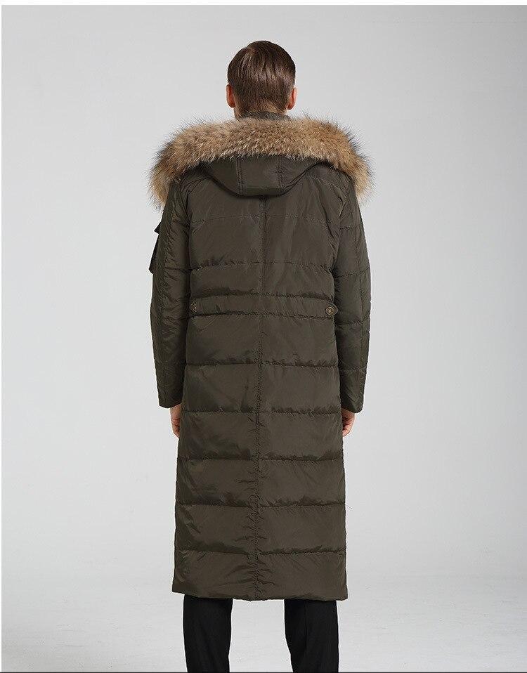 Winter Duck Down Jacket Men Plus Size 4XL Raccoon Fur Long Hooded Coat Parkas Casaca De Invierno Hombre LX2257