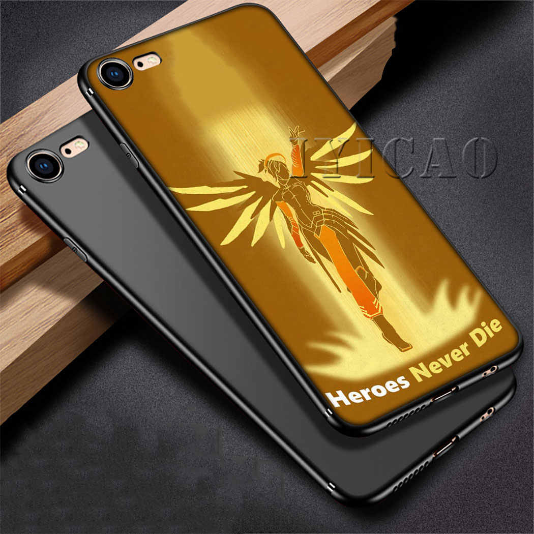 IYICAO Overwatch mercy de silicona suave para iPhone 5 5S SE 10 X XS X XR XS Max 6 6s 7 7 funda para teléfono 8 Plus 11 pro max