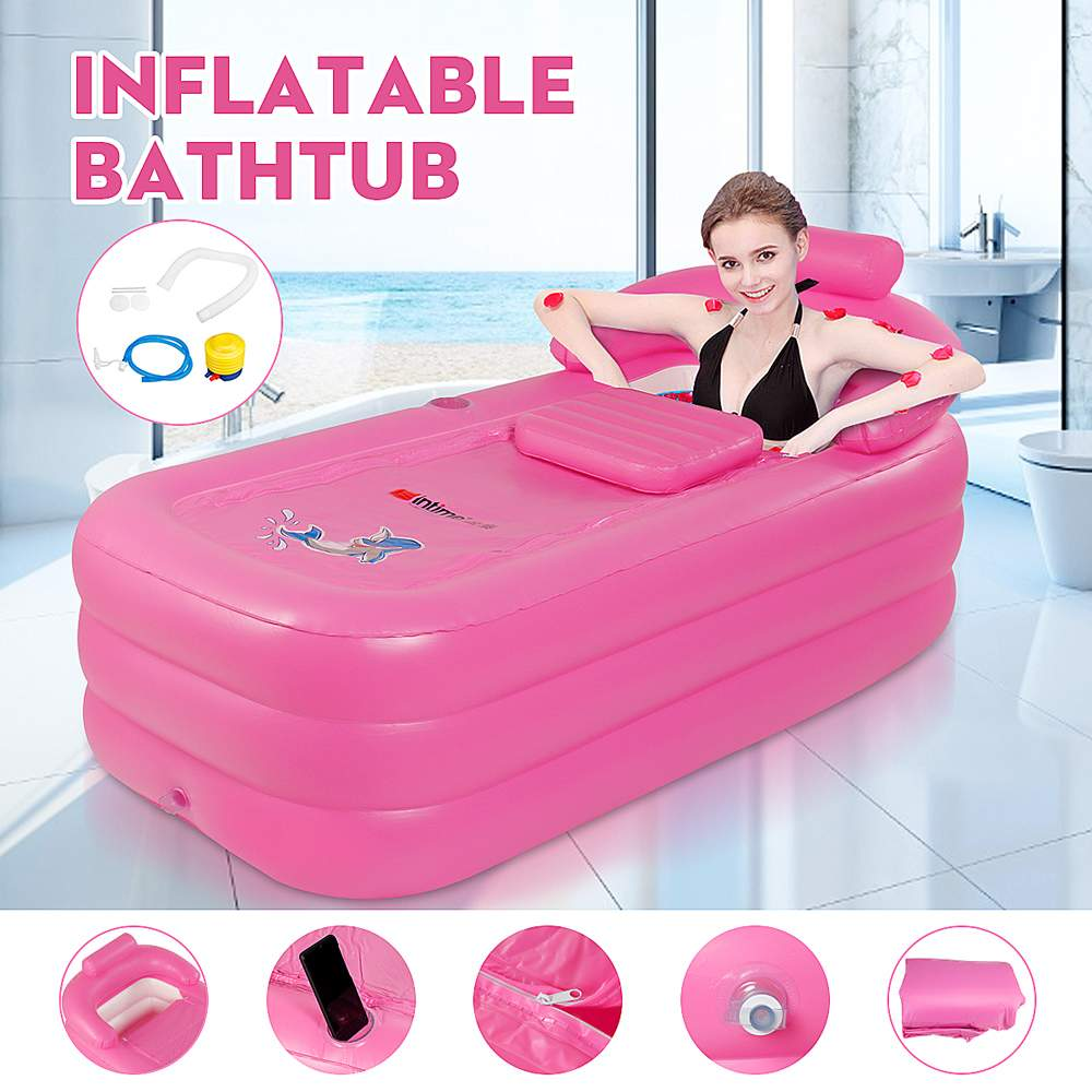 160 x 84 x 64cm Large Size PVC Folding Portable Inflatable Bath Bathtub For Adults W/ Foot Pump SPA Household Inflatable Tub