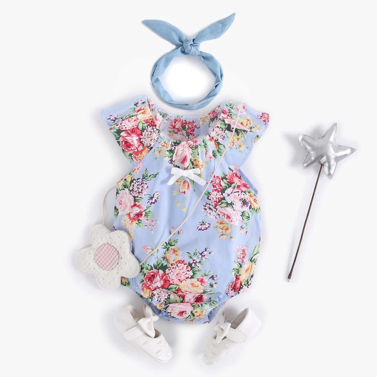 Summer New Arrival Toddler Girls Short Sleeve Breathable Blue Rompers Newborn Baby Girls Soft Cotton Cute Floral Print Bodysuit