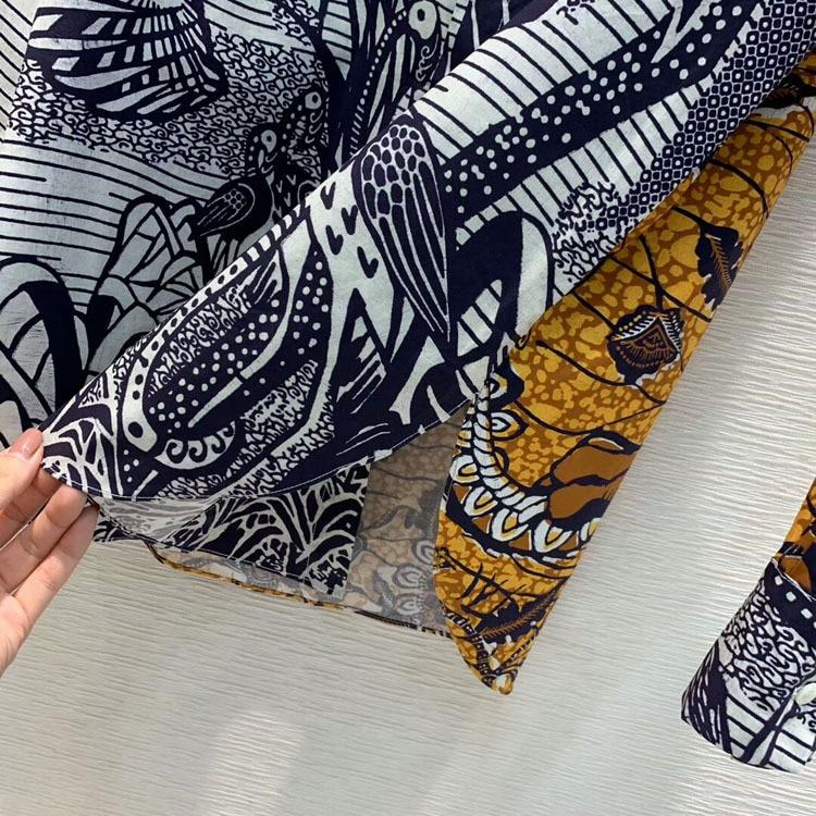 2019 Otoño e Invierno de las mujeres de alta calidad de moda elegante contraste Color Sketch impreso solapa camisa tamaño 36 38 40 - 4