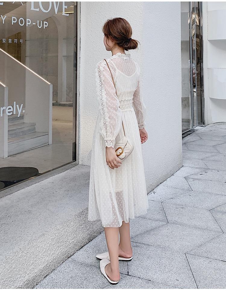 Lace Floral V-Neck Long Sleeve Polka Dot Dress 3