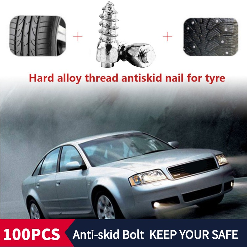 100PCS 11.5-3.3MM Snow Chains Studs For Tires/Winter Tire Spikes/Car Tire Studs/Snow Chians Ice Stud Carbide Studs For SUV ATV