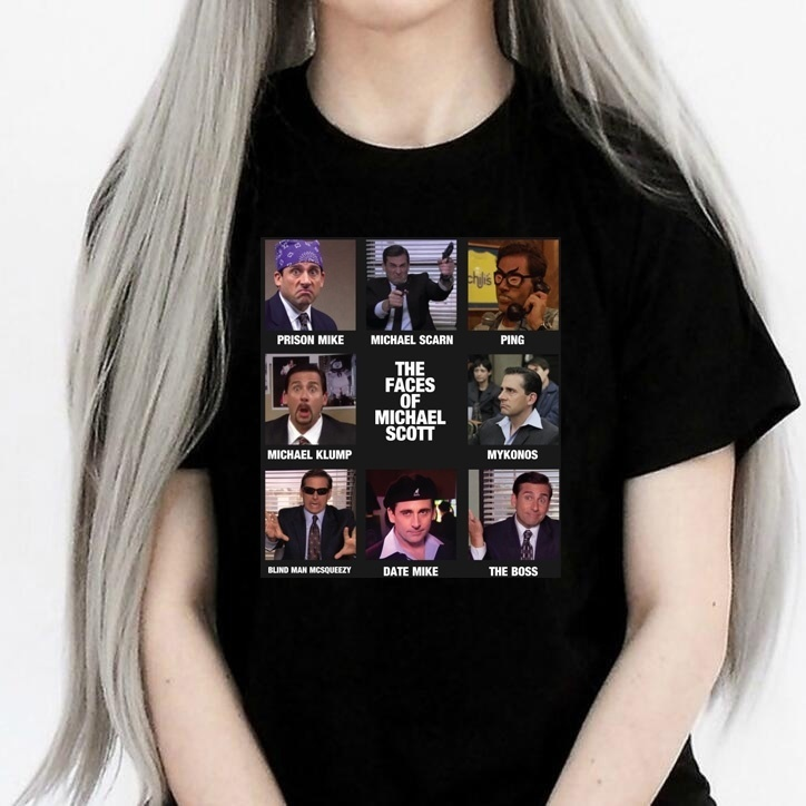 kuakuayu HJN The Faces of Michael Scott The Office Shirt T-Shirt Funny Quotes T-Shirt Michael Scott Dwight Schrute Graphic Tee image