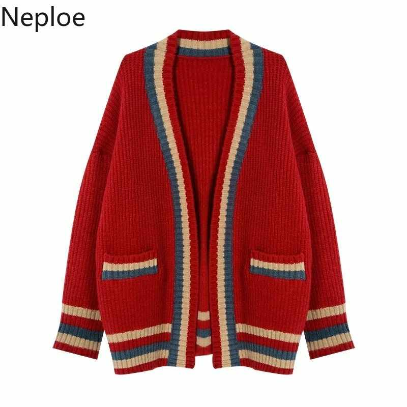 Neploe корейские Повседневные вязаные кардиганы с v-образным вырезом, свободные, дикие, консервативный стиль, овечья шерсть, открытый стежок, Осенний толстый свитер 45678
