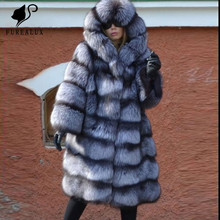 Real Fox Fur Warm Thick Silver Natural Coats Women Long Slim Fashion Overcoat With Big Fluffy Hoods Luxury Clothing