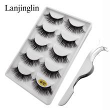 LANJINGLIN 5 pairs 3d mink lashes extension make up natural false eyelashes wholesale fake eye handmade tweezers