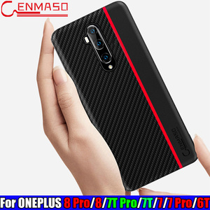 For Oneplus 8 Pro 7T 6T 6 T Case for Oneplus 8 7T 6 6T 7 Pro Carbon Fiber Leather Back Case Soft Silicon Edge One Plus 6T 8 Case(China)