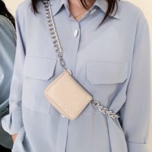 Women Thick metal Chain Mini-square Crossbody Bag Fashion Ch