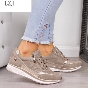Women Shoes Gold Sneakers Zipp