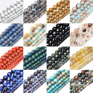 Loose-Stone-Beads Jewelry Charms Turquoises Agates Natural-Stone Tiger-Eye Making Round