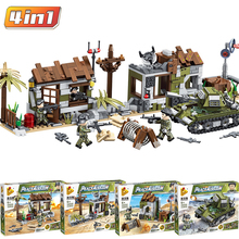 Guns-Bricks Building-Blocks Heavy-Tank Military Soldier Educational-Toy Battlefield Army-Police