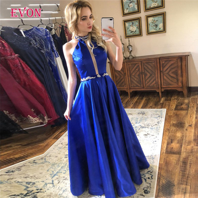 Elastic Stain Long   Evening     Dresses   2020 New Design Halter Backless Beaded A Line   Evening   Gowns Robe De Soiree vestido longo