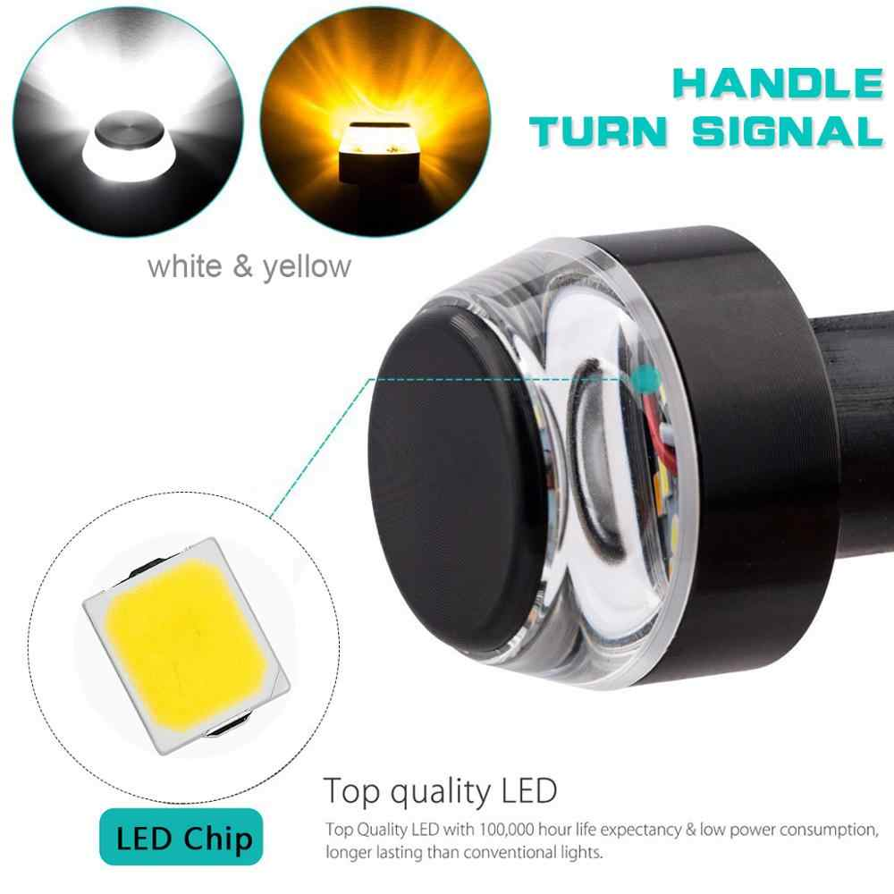 Dire-wolves 2Pcs LED Motorcycle Handlebar Light 12V Turning Indicator Light Universal Yellow Light Grip Turn Signal Handle Bar Flash Light Indicator