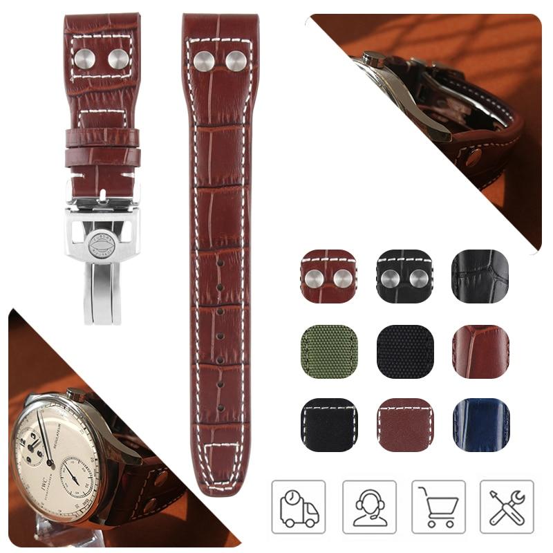 20mm 21mm 22mm Alligator Grain Calf Genuine Leather Watchband for IWC Watch Big Pilot Portuguese Seven Day Belt Black Blue