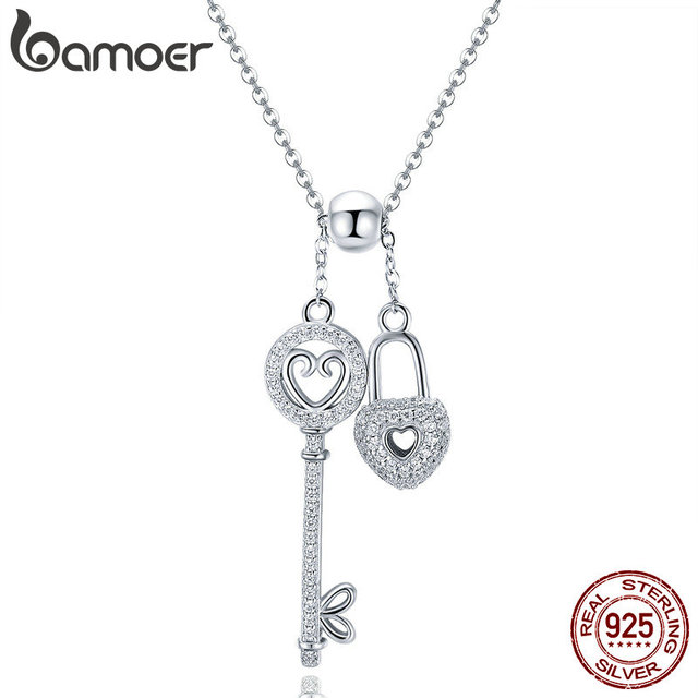 BAMOER Romantic 925 Sterling Silver Key of Heart Lock Chain Pendant Necklaces for Women Sterling Silver Jewelry Collar SCN290