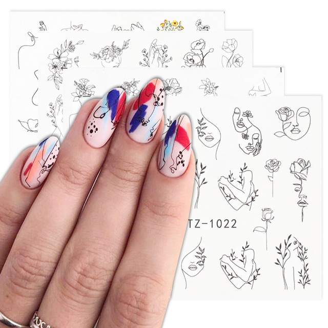 Abstract Lady Face Nail Decals Water Black Leaf Sliders Paper Nail Art Decor Gel Polish Sticker Manicure Foils CHSTZ1018-1033 4