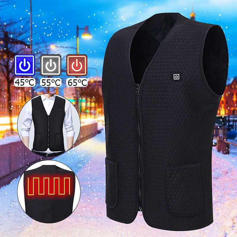 Unisex Electric Battery Heating USB Sleeveless Vest Winter Heated Outdoor Jacket Winter Electric Thermal Clothing WarmWaistcoat|Motorcycle Rider Vest| |  - title=