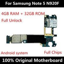 لسامسونج نوت 5 N920F N920T N920A N920G N920I N920V 32 جيجابايت اللوحة مع رقائق IMEI الأصلي أندرويد OS فتح المنطق مجلس