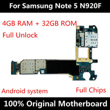 For Samsung Note 5 N920F N920T N920A N920G N920I N920V 32GB Motherboard With Chips IMEI Original Android OS Unlock Logic Board