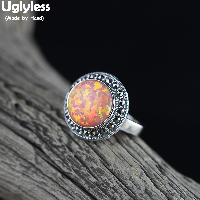 Uglyless joli coloré opale anneaux pour les femmes Marcasite Thai argent pierres précieuses anneaux ouverts réel 925 argent Bijoux Fine Bijoux R927