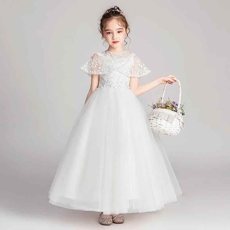 2019 Crianças Meninas Malha Buraco Bola de Vestido Sem Mangas Vestidos Longos Crianças Meninas Pageant Primeira Comunhão Casamento Arrastando Vestido F50