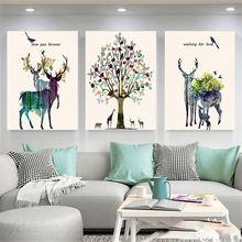 Абстрактный лось холст картина цветок лес картины для дома Скандинавский