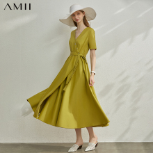 AMII Minimalism Spring Summer Vneck Fit And Flare Women Dres
