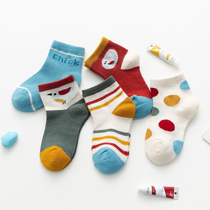 5Pairs Summer Toddler Kids Baby Solid Color Cotton Socks Mesh Anti Slip Socks UK