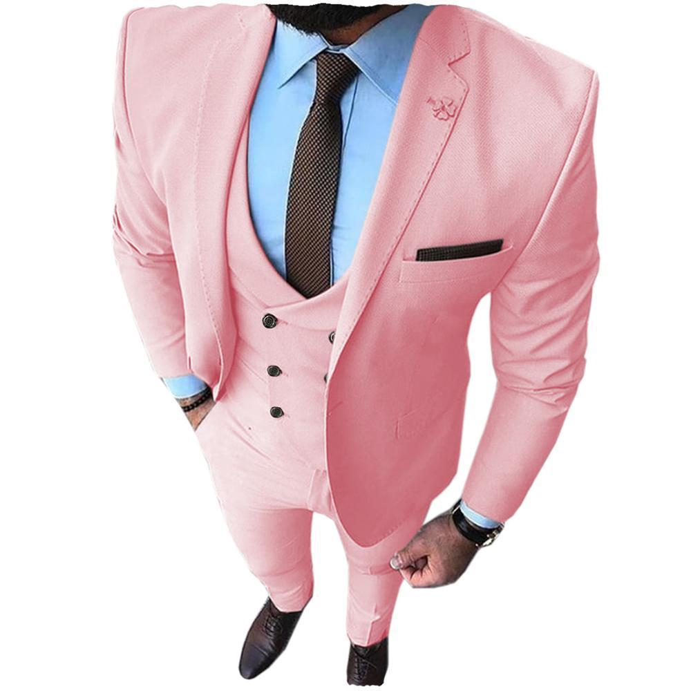 New Pink Men's Prom Tuxedos Fashion Double Breasted Suit Slim Fit 3 Piece Notch Lapel Wedding Groomsmen (Blazer+Vest+Pants)