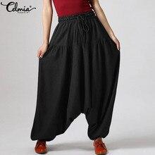 Celmia Fashion Trousers Women High Elastic Waist Loose Harem Pants 2021 Vintage Drop-Crotch Autumn Casual Solid Pantalon Female