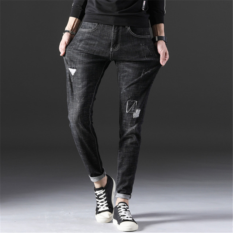 Mens Casual Jogger Long Jeans Homme Skinny Destroyed Ripped Denim Pants Male Slim Fit Straight High Stretch Jeans AA11429 image