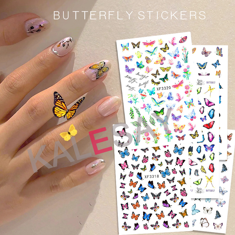 Nail Art Sticker Series Butterfly Nail Decals Manicure Design Flower Sticker On Nails Decoration Self Adhesive Top Quality Foil