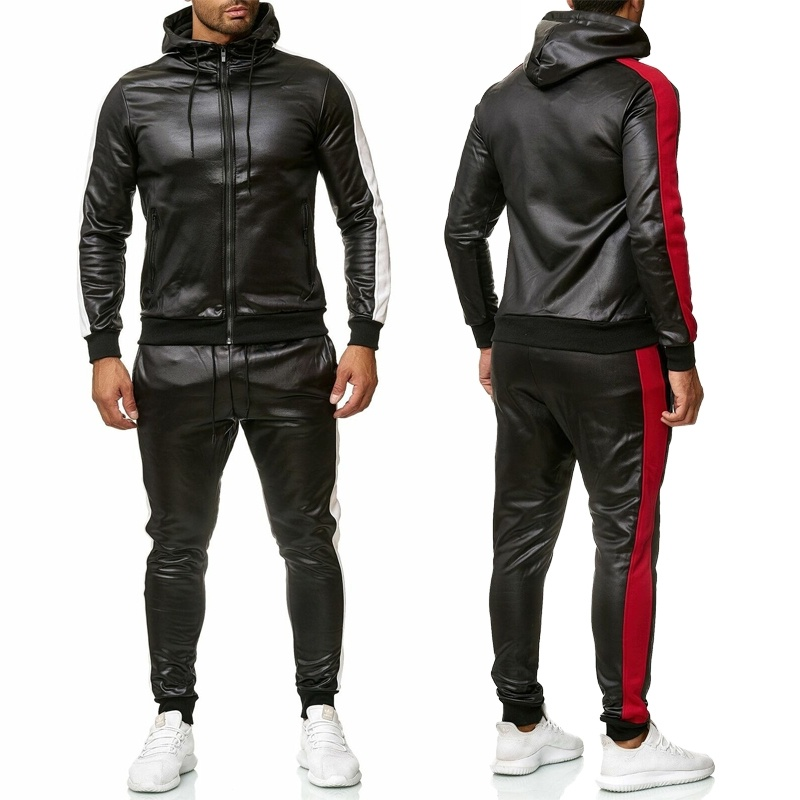 ZOGAA Men's PU Leather Hoodies Set 2 Piece Casual Sweatsuit Hooded Jacket And Pants Jogging Suit Tracksuits Men