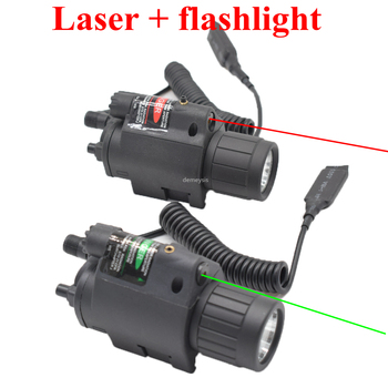 цена на Combo Pistol Gun Light + Red Green Laser Hunting Gun Weapon Flashlight Tactical Rifle Led Flashlight with Red Laser Sight