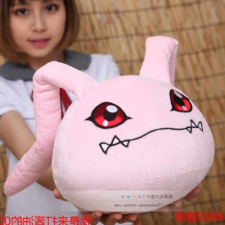 Free shipping Digital Monster Koromon Pillow Plush Toys Soft Stuffed Dolls 22cm Ear Length 42cm for collection(China)
