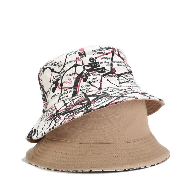 Fashion Graffiti Double Faced Fisherman Hat Men And Women Streetwear Hip Hop Basin Caps Summer Outdoor Bucket Hats Sun Cap Visor Lastest Fashion And Style